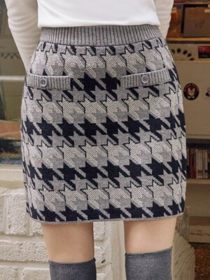 (SK-19731) HOUND TOOTH KNIT SKIRT GRAY