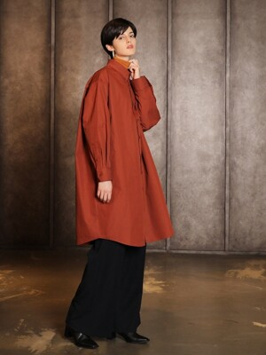 Overfit long shirt dress_Brick