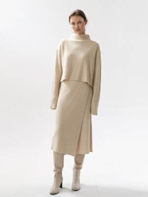 NTW CASHMERE RIBBED KNIT WRAP SKIRT 4COLOR