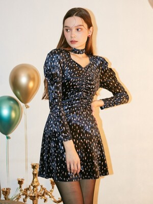 Puff Shoulder Velvet Dress_ Navy