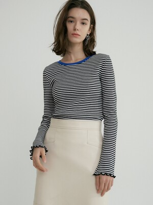 comos'322 stripe bell sleeve t (black)