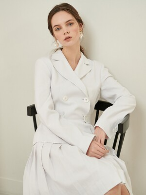 Pleats belted linen Jacket One-piece
