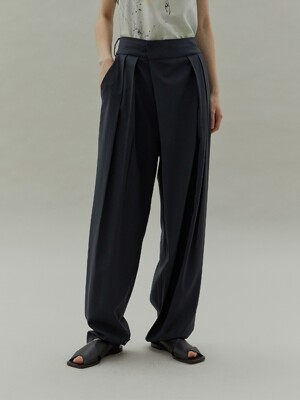 20SS WIDE TUCK PANTS - BLUE GREEN