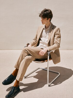 Slim-fit Seersucker Jacket  + Relax banding Trousers SET_BEIGE
