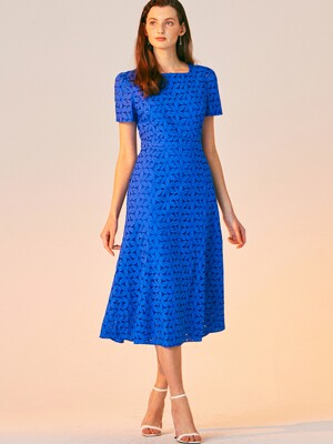 SQUARE NECK LACE DRESS_BLUE