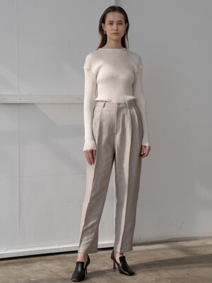 Basic two tuck trousers in beige