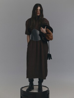 TEXTURED TURTLENECK DRESS (BROWN)