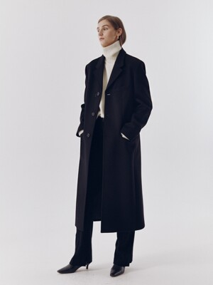 [단독] UNISEX 2-WAY 3 BUTTON CASHMERE COAT BLACK_UDCO0F111BK