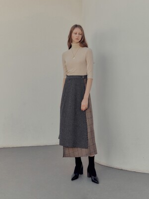 Check mixed wool skirt