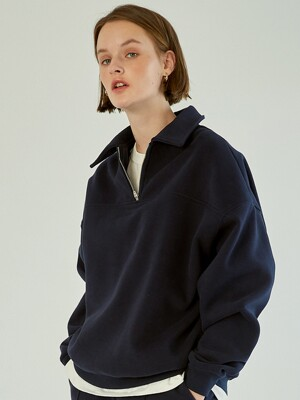 Half Zip Up Sweatshirt [Navy]