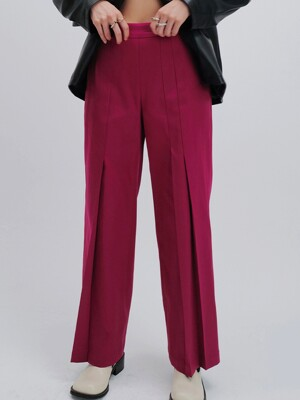 SATIN TUCK TROUSERS (MAGENTA)