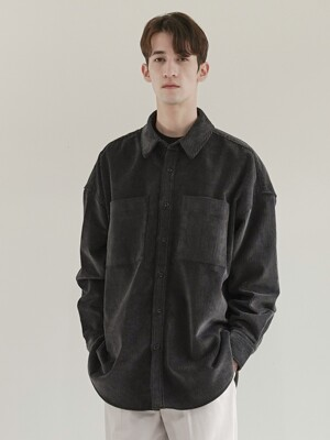 OUT-POCKET HEAVY CORDUROY SHIRT_BLACK