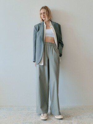 WIDE BANDING PANTS - GREY