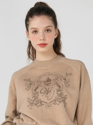 WV Emblem Crop Sweat-shirt [Beige]
