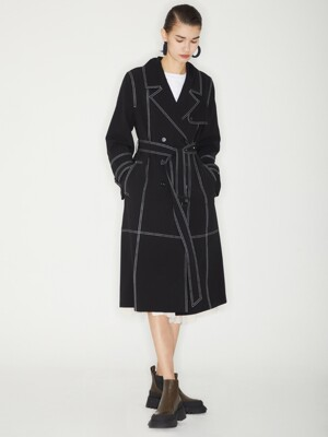 DOUBLE STITCH TRENCH COAT_BLACK