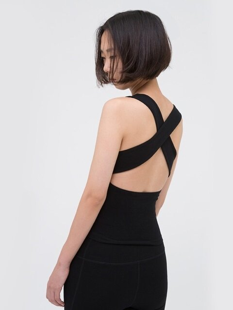 X Back Tank Top-Black