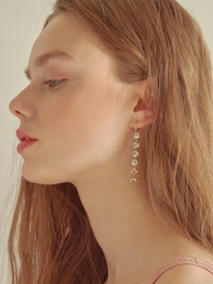 B LINESTONE RING EARRINGS (GOLD)