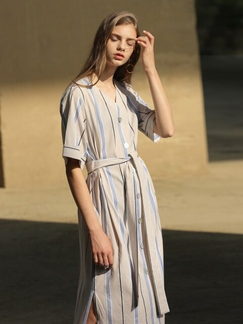 18RESORT WIDE STRIPE ROBE DRESS_2COLOR