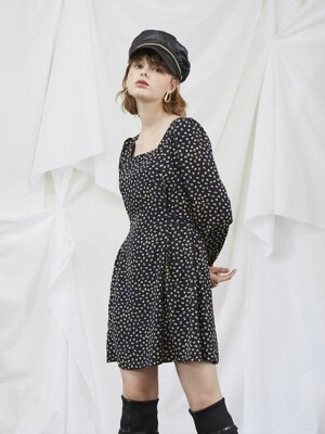Navy Dot Puff Shoulder Dress