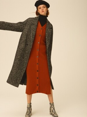 Brushed Herringbone Wool Coat