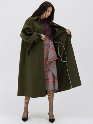 Oversized Reversible long trench coat [Dark olive]