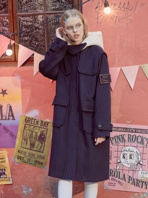(CT-18706) SOLID DUFFLE COAT DEEP NAVY