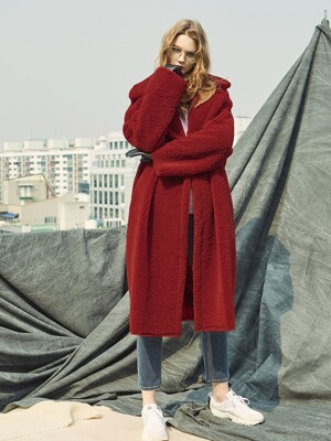 REVER BULKY MUSTANG LONG COAT RED