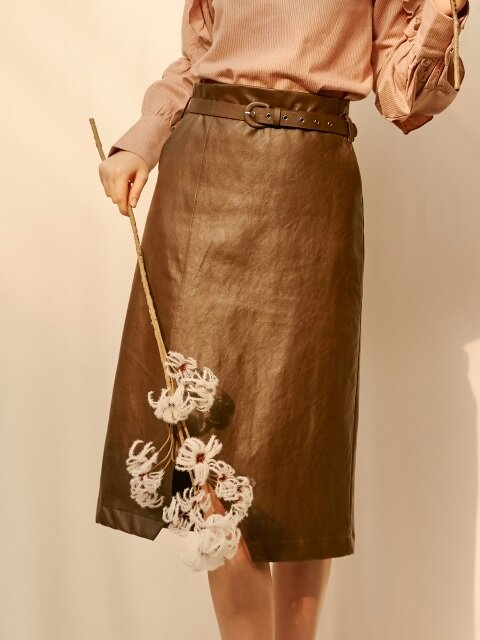 monts811 leather belt skirt (brown)