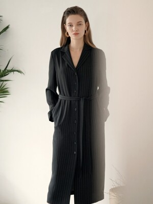Coat Long One-Piece - Black Stripe