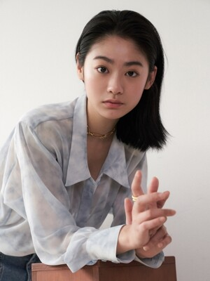 See-through tie dyeing blouse_fog blue