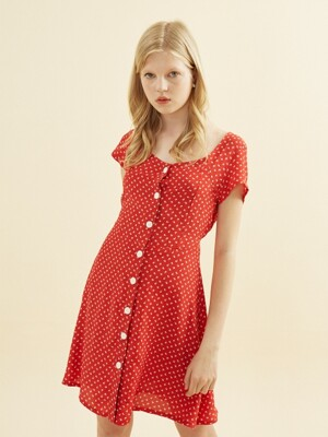 Floral Square Neck Dress_ Red