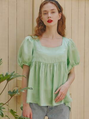 Marie Puffy Sleeves Top_Mint