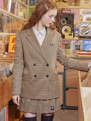 (JK-19501) BACK PLEAT CHECK JACKET BEIGE