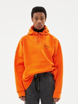 UNISEX FULL NAME LOGO EMBROIDERY HOODIE atb381u(ORANGE)