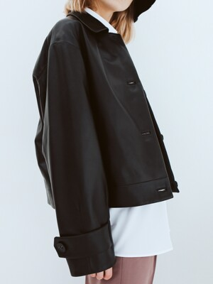 Lambskin Short Leather Jacket [Black]