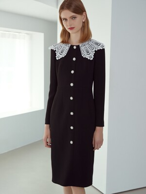DAPHNE2 DRESS / LACE WIDE COLLAR JEWEL BUTTON DRESS(black)