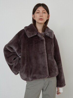 SOFT FUR JACKET - PURPLE GREY