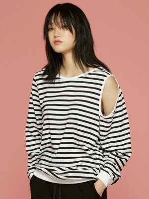 CUT-OUT DETAILED STRIPE T-SHIRT