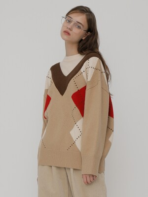 [UNISEX] R V BIG ARGYLE KNIT_BEIGE