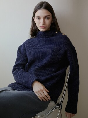 comos'289 wool silk turtleneck  knit (navy)