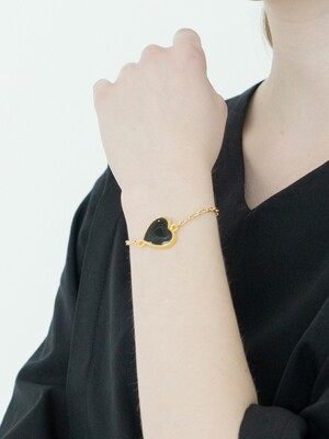 Gold Plated Heart Chain Bracelet : Black