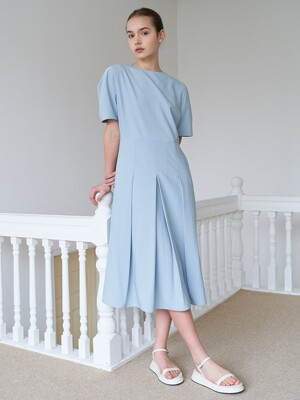 front pleats dress-lightblue