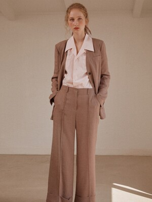 [Drama Easy] Summer No-Collar Belted Blazer + Wide-leg Turn-up Trousers SET (4colors)