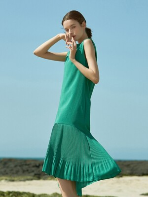 J472 pleats sleeveless onepiece (green)