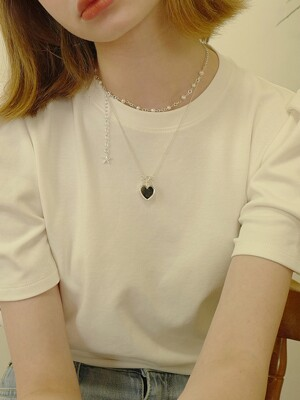 Heart Clover Mirror Necklace Set