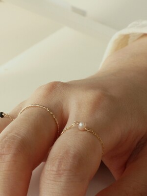 PEARL 14K GOLD FILLED CHAIN RING