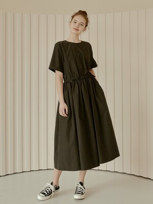 daily shirring long dress[black]