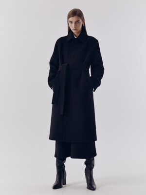UNISEX BELTED WOOL MAC COAT BLACK_UDCO0F113BK