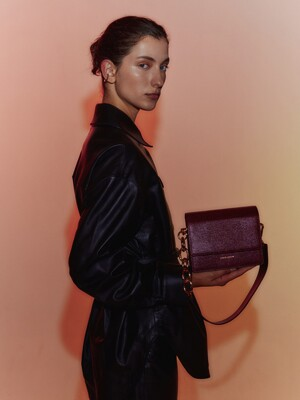 Mini Bold Chain Bag in Lizard Deep Burgundy