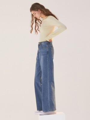 HIGH WAIST WIDE STRAIGHT JEANS BLUE